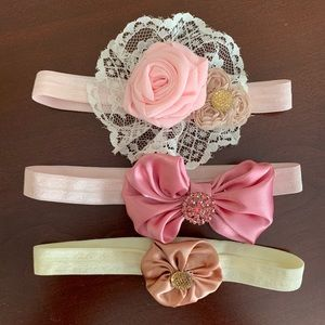 Baby girl bows, set of 3, handmade infant headband